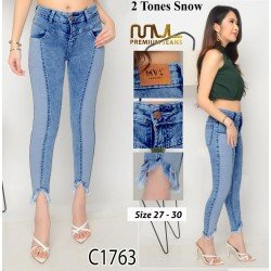 C1763 skinny two tone jeans